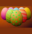 painted easter eggs brown background vector image