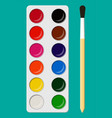 set of watercolor paints in box with paint brush vector image