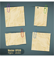 Set of realistic scraps of paper with clips vector image
