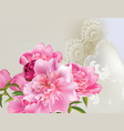 peony flowers bouquet with delicate lace vector image