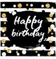 birthday postcard gold glitter vector image