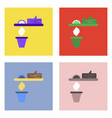 flat icon design collection paper and trash vector image vector image