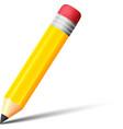 Yellow pencil with eraser icon vector image