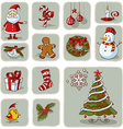 Vintage Christmas Graphic Elements Hand Drawn vector image