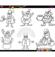 Saint patrick set coloring page vector image