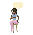 cartoon woman sitting on bar stool with speech vector image