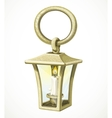 Ancient copper lantern with a candle inside vector image