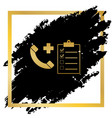 medical consultation sign golden icon at vector image