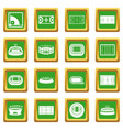 sport stadium icons set green vector image