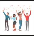 team celebrates successful startup vector image