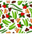 Peanuts coffee beans and peas seamless pattern vector image