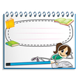 A notebook with a drawing of a girl reading vector image vector image