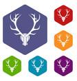 deer antler icons set vector image