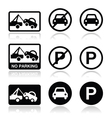 No parking parking forbidden sign vector image vector image