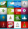 Christmas cards set - paper cut xmas greeting vector image
