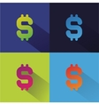 Abstract flat money set isolated on colored vector image