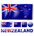 New Zealand flag in different designs and wording vector image