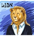 Portrait of a leader Beautiful lion in suit hand vector image