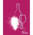 art grapes with wine bottle and glass vector image