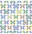 Multicolor geometric butterflies seamless pattern vector image