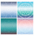 set of cards with indian mandala on blue gradient vector image