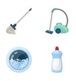 a mop with a handle for washing floors a green vector image