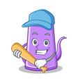 playing baseball purple teapot character cartoon vector image