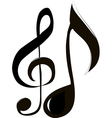 treble clef and note vector image vector image