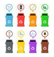 garbage cans with sorted garbage vector image