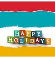 Happy holidays paper cut symbol vector image