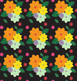 multicolored floral pattern on dark vector image