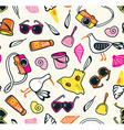Summer seamless pattern with beach things on the vector image vector image