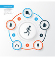 person icons set collection of running group vector image