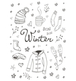 Collection of hand drawn winter related graphic vector image