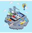 Mobile app development creative process vector image