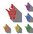 add to shopping cart sign set of red orange vector image