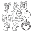 Cute Christmas set with animals icons deer doe vector image