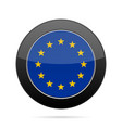 flag of european union shiny black round button vector image