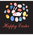 Greeting card with Easter eggs and rabbit vector image