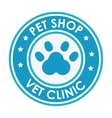 stamp pet shop vet clinic with blue paw vector image