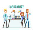smiling scientists man and woman working in a lab vector image