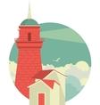 Marine emblem with lighthouse vector image