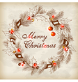 Vintage hand drawn Christmas wreath vector image vector image