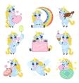 Cute Unicorn Cartoon Set vector image vector image