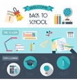 Horizontal banners with school and education icons vector image