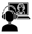 interview online - online study - school icon vector image