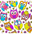 seamless pattern with funny owls vector image