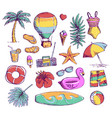 set of bright summer doodle sticker hand draw vector image