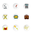 Study of science icons set flat style vector image