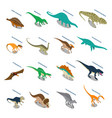 Dinosaurs isometric icons set vector image